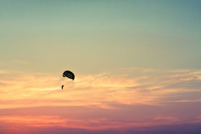 parasailing on ocean